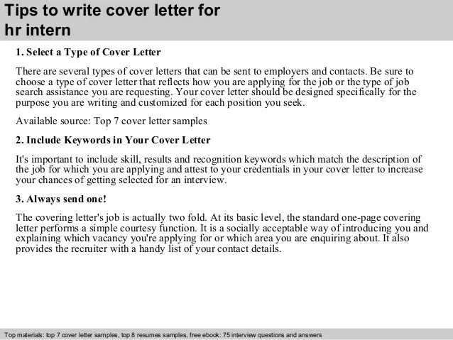 Resume Cover Letter How To Write A Cover Letter Hr Intern Cover Letter