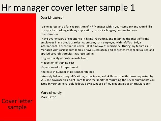 Hr Manager Cover Letter - Costumepartyrun