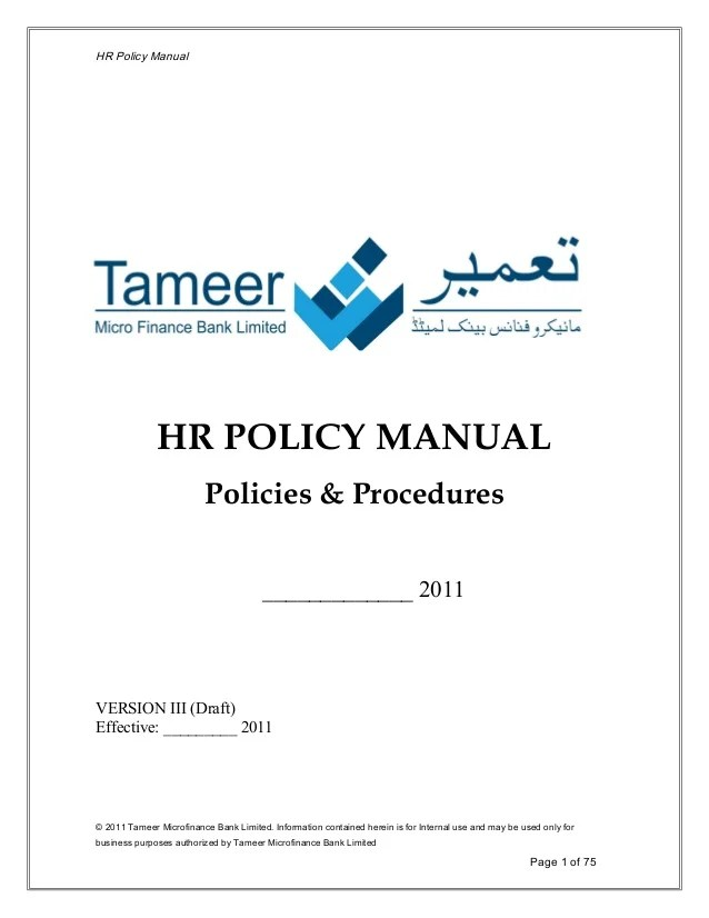 Hr Policy Manual Hr Policy Manual Policies Procedures ______  Version Iii Draft