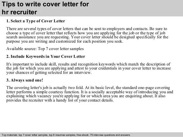 Cover Letters Hr Recruiter Cover Letter
