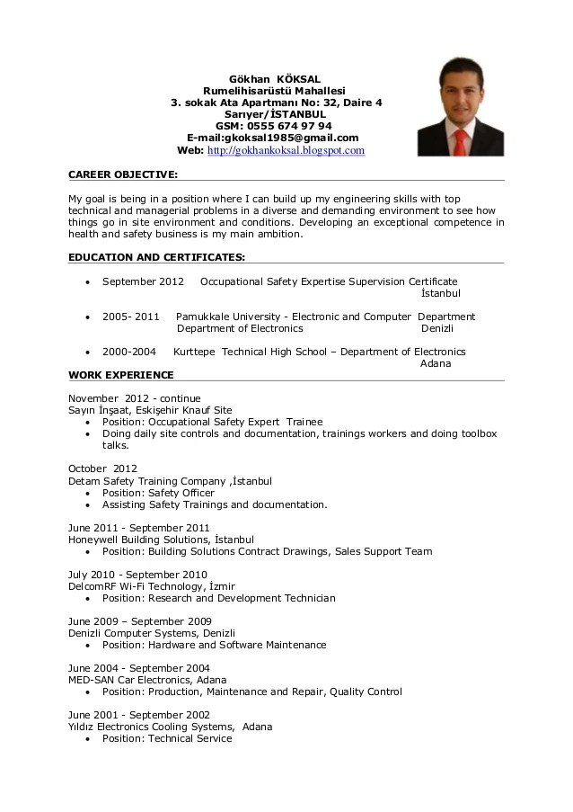 cv ingenieur hse pdf