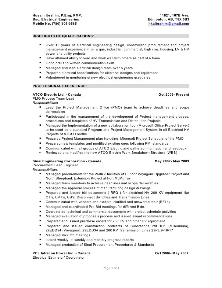 resume format of electrical engineer