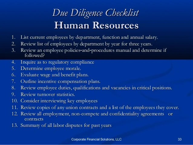 corporate due diligence checklist