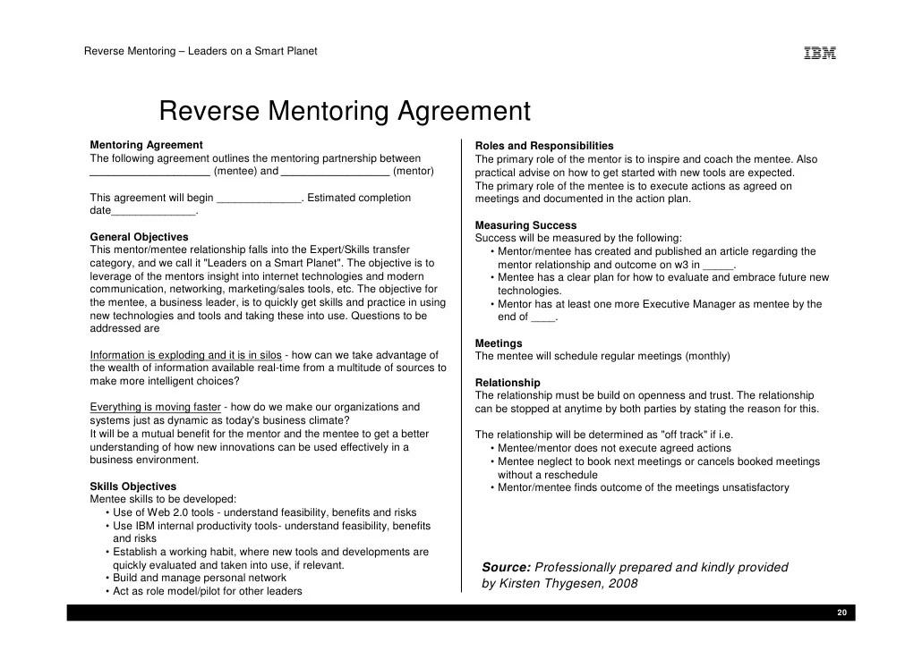 Mentor Contract Template Costumepartyrun