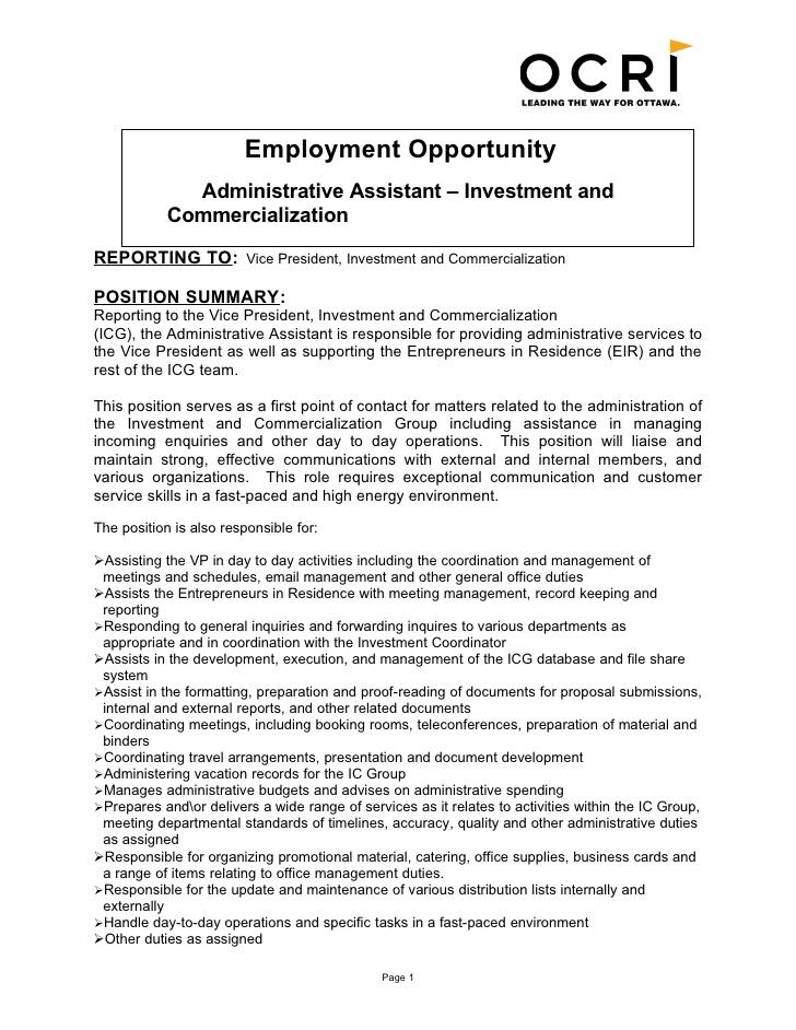 Benefits Administrator Benefits Administrator Resume Sles Benefits Lou BANGA  Administrative Assistant Job Description Resume