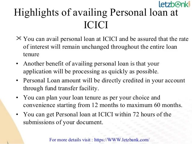 Avail ICICI Personal Loan at lowest ROI at Letzbank