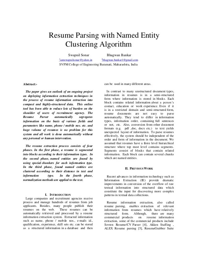 parse resume - Ozilalmanoof - parse resume example