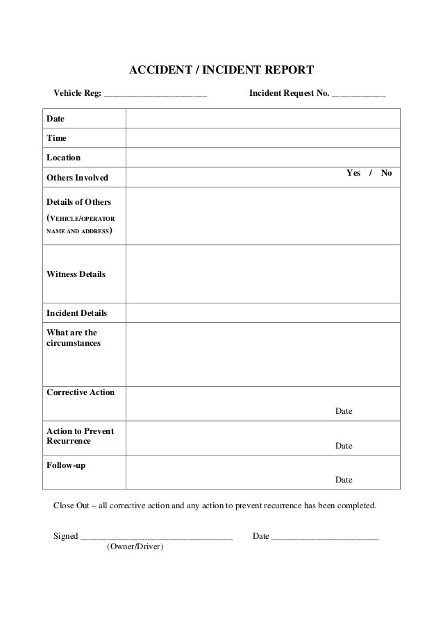 vehicle incident report template - Eczasolinf - generic incident report template