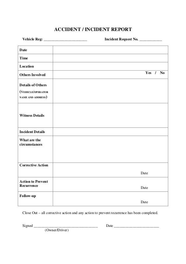 school incident report form sample