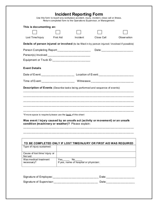 Incident Report Template Technology – Incident Reporting Template