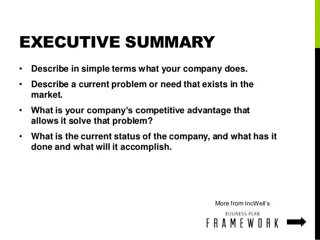 executive summary for a business plan - Goalgoodwinmetals