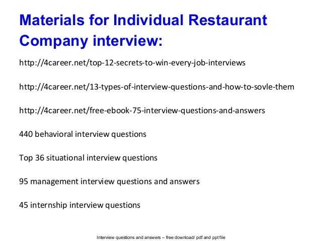 restaurant interview answers - Funfpandroid