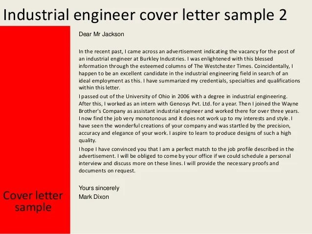 sample industrial engineering cover letter