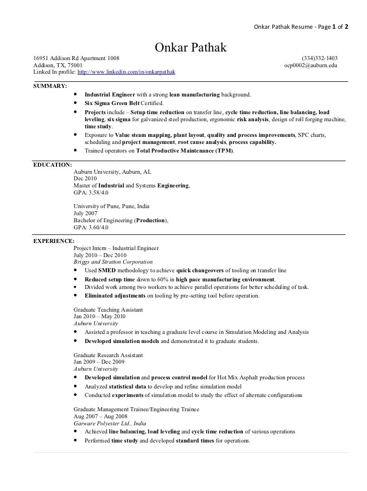 sample resume of manufacturing engineer