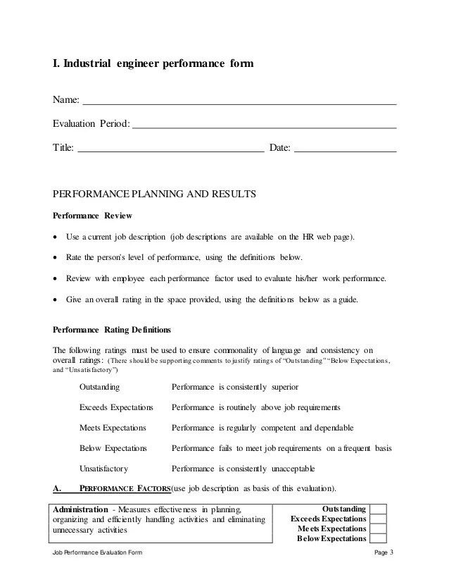 Creating A Resume For An Internal Promotion Industrial Engineer Performance Appraisal