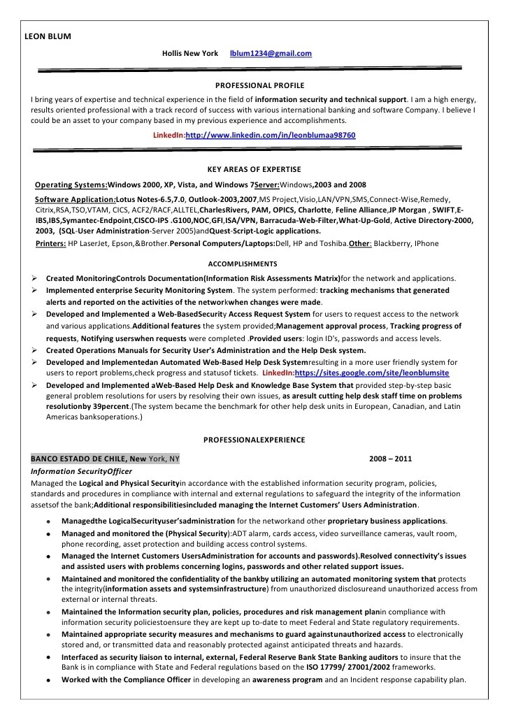 resume chief information security officer