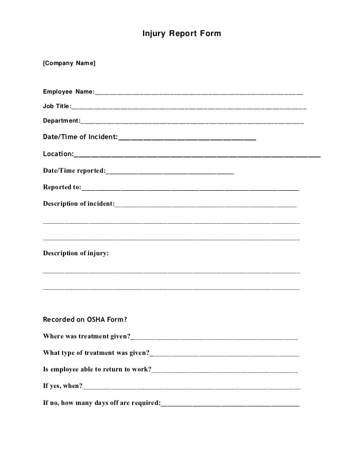 Incident Reporting Form Template – Report Form Template