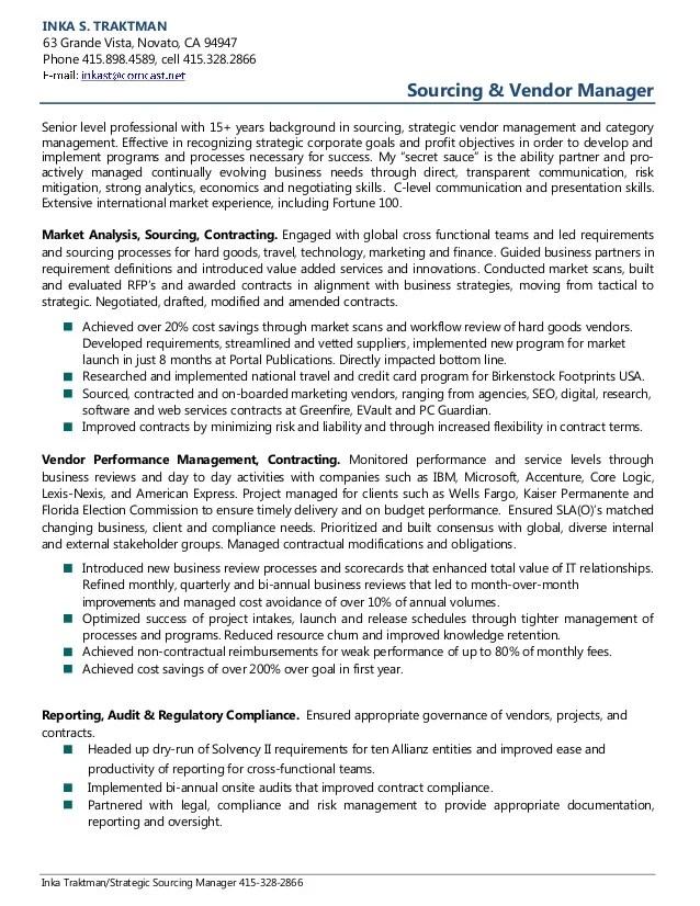 Vendor Manager Resume Sample Livecareer Inka Traktman Sourcing And Vendor Management Resume