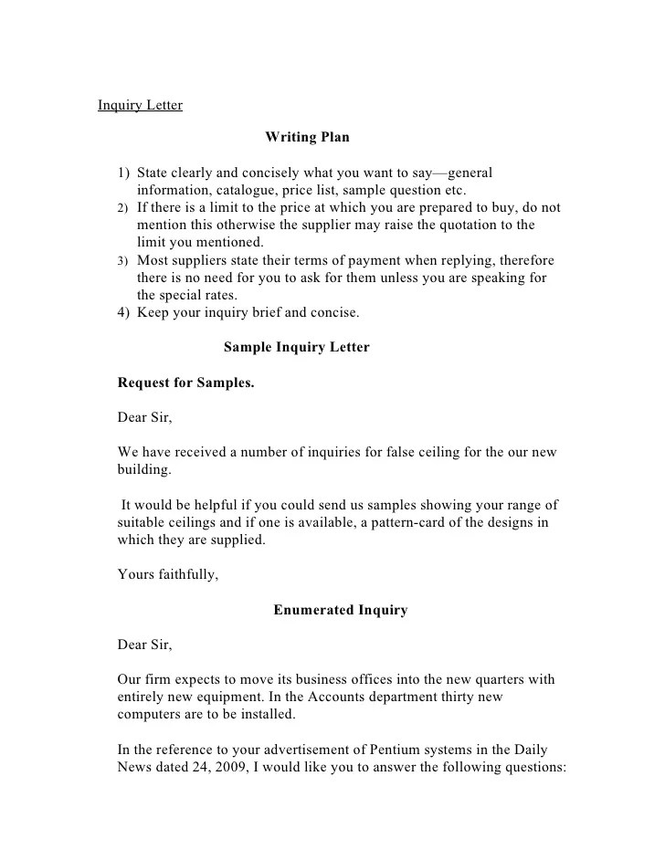 Sample Of Inquiry Letter In Business Business Enquiry Letter – Sample of Inquiry Letter in Business