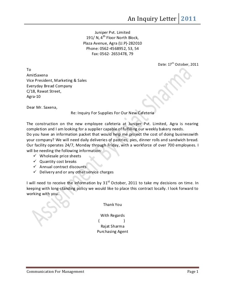 Enquiry Letter Format - Fiveoutsiders