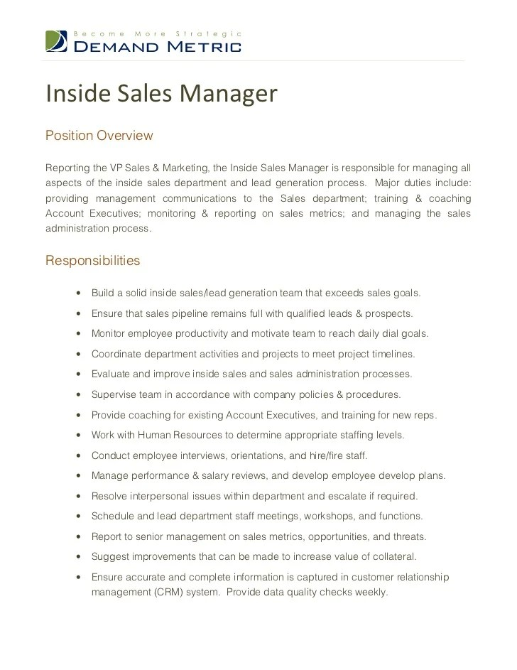 Inside sales managerposition overviewreporting the vp sales