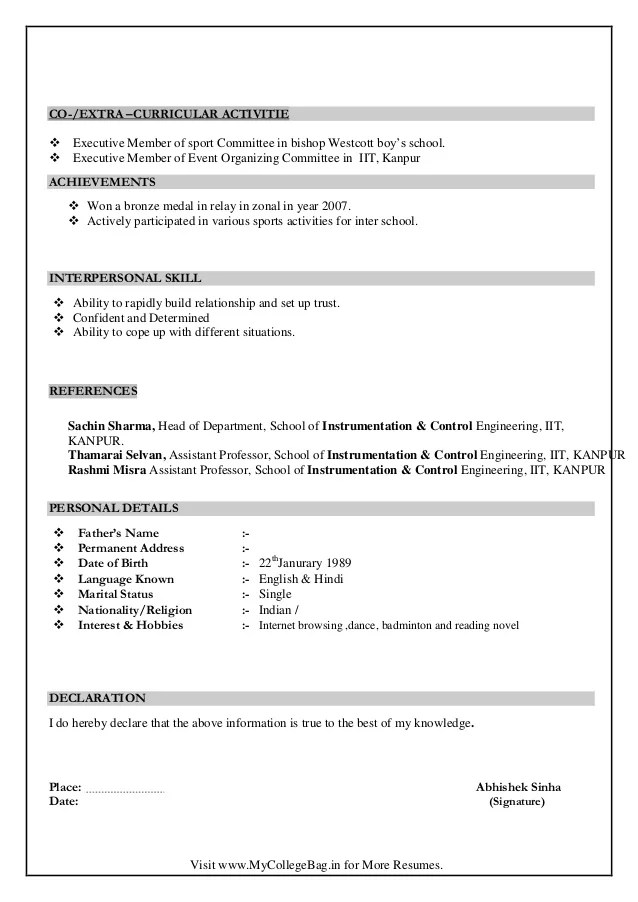 References Resume Format Sample – Resume Format with References Sample