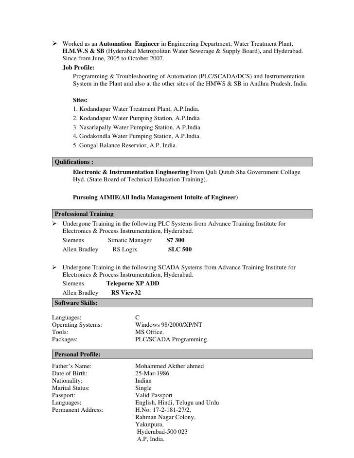 Resume Writing Company In India Professional Resume Instrumentation Engineer