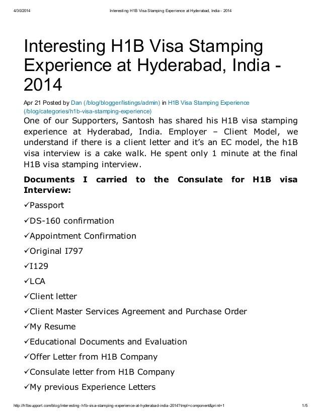 Employment Letter For H1b Visa Stamping. 30 2014 H1B Affidavit ...