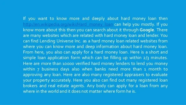 Interest rate of hard money loan