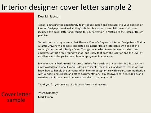 Interior Designer Cover Letter Resume | Sample Customer Service Resume