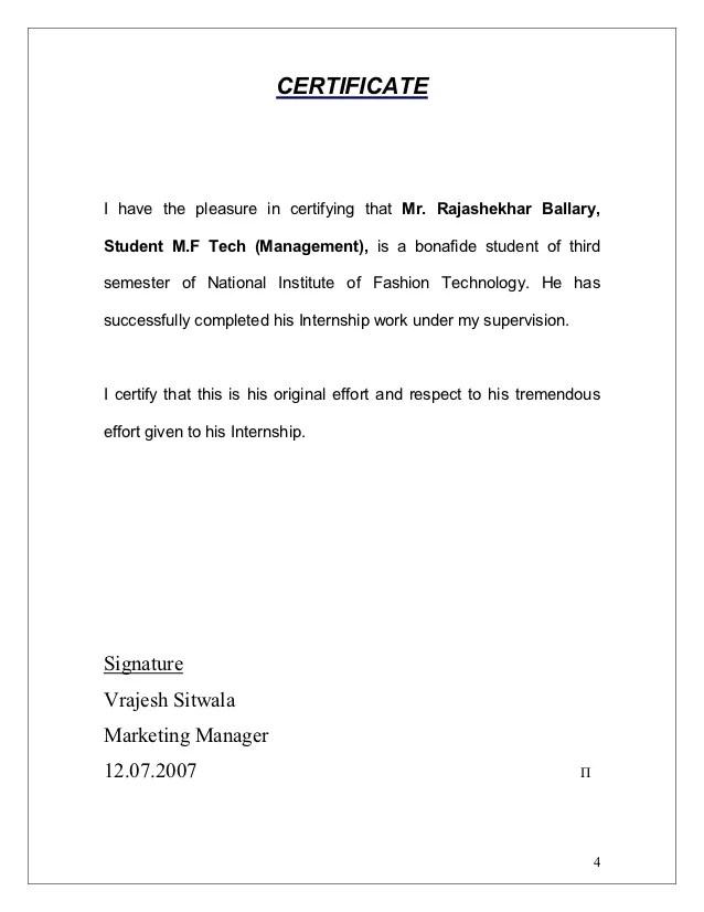 Letter Of Agreement Format Letters Free Sample Letters Intern Report Torajashekhar Ballary