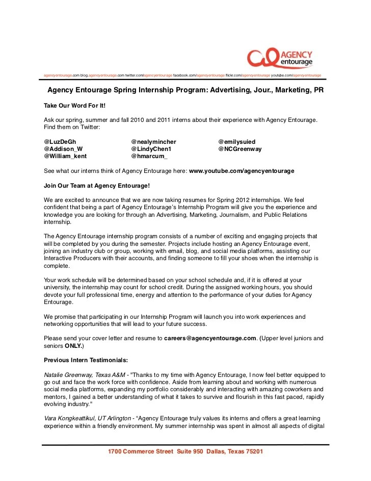 Cover Letter For Internship In Advertising Agency | Terms And ...