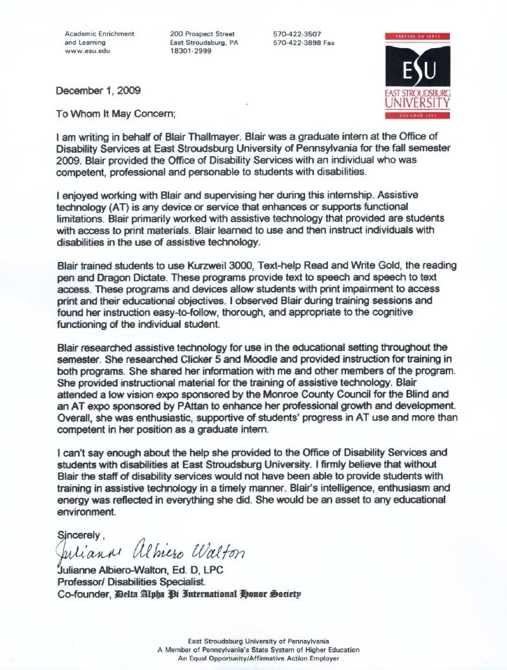 letter of recommendation from internship supervisor - Canas