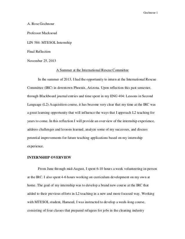 internship reflection paper example - reflective analysis essay examples