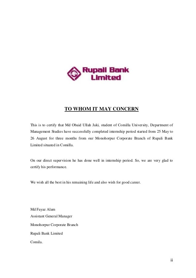 Corporate Price Guide Noor Bank Internship Report On Rupali Bank Limited Comilla