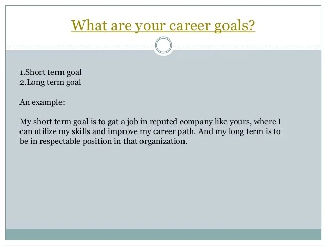 short term and long term career goals examples - Selol-ink