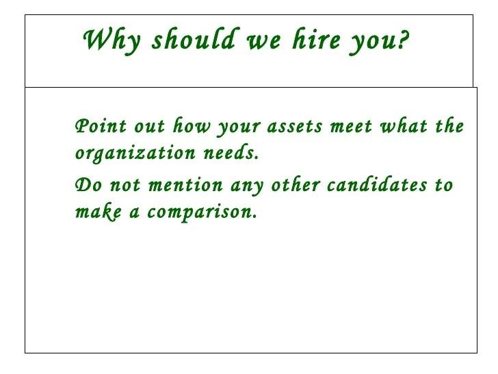 why should we hire you answers - Onwebioinnovate