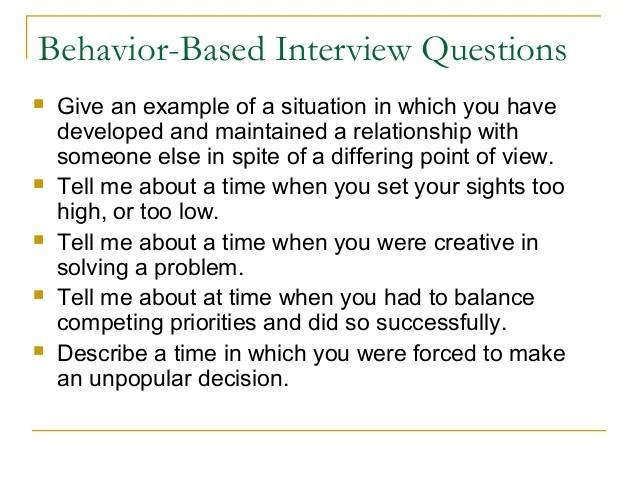 behaviour based questions - Romeolandinez