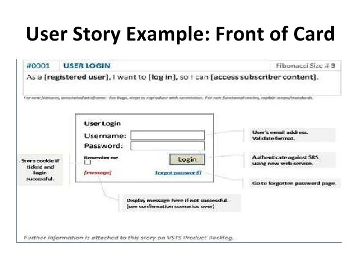 User Story Template Example