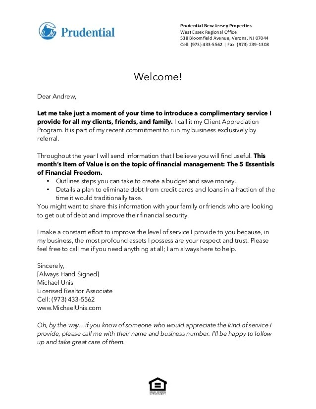 welcome letter to client - Towerssconstruction