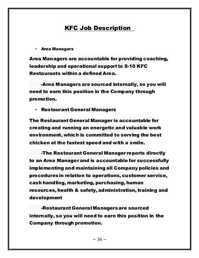 kfc job description resume