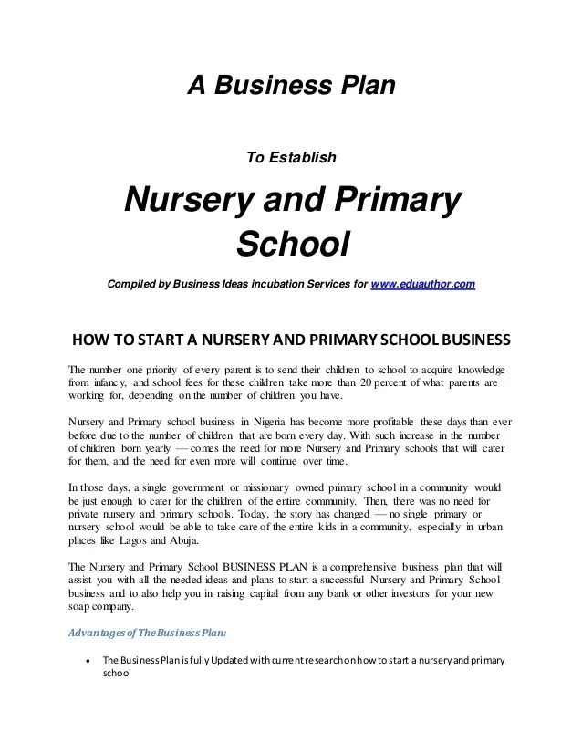 Daycare Business Plan Template Sample Form Biztree Intro Nursery And Primary School Business Plan