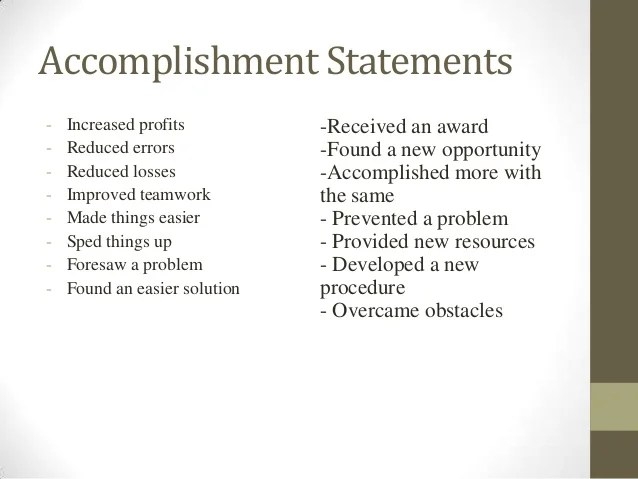 accomplishment statements examples resume