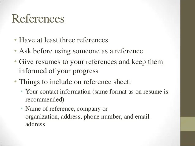 how to include references in a resumes