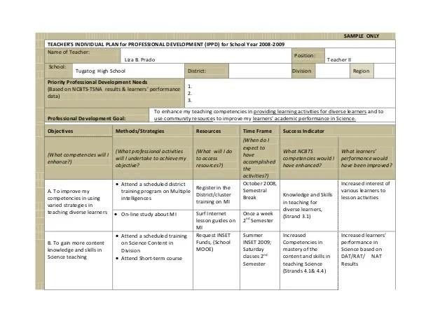 Teacher Professional Development Action Plan Template – Individual Personal Development Plan Sample