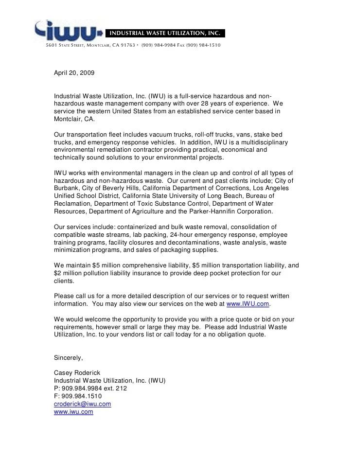 Prime Insurance Company Iwu Intro Letter