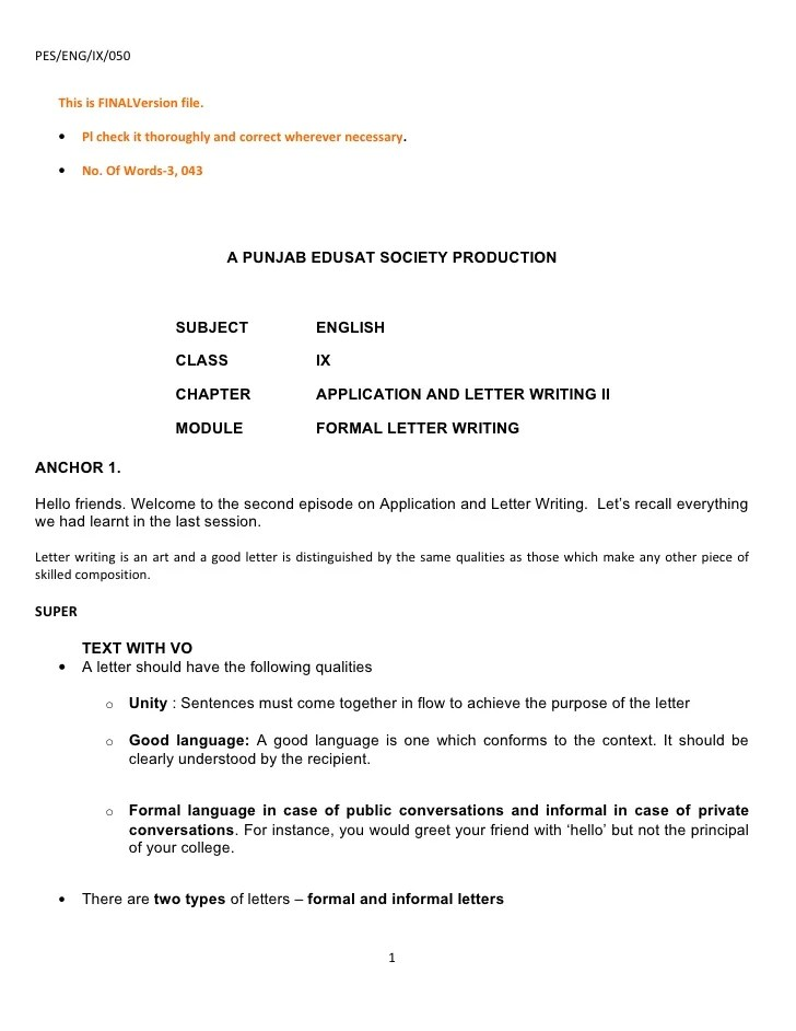 How To Write College Application Letter Sample Template Ix Application And Letter Writing Part 2 070809r