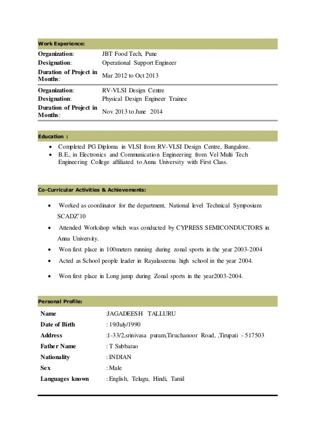 Best Resume For Vlsi Design Engineer   Job Application Letter Format ...