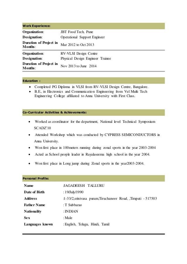 resume of vlsi design engineer