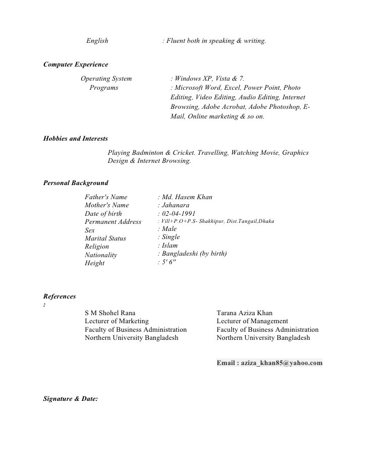 fluent english cv